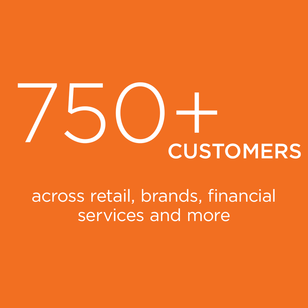 750+ Customers across retail brand and financial services